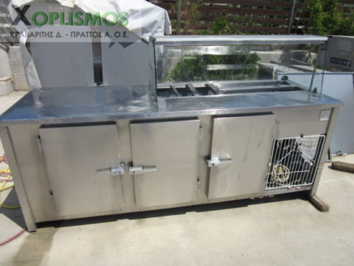 psygeio pagkos vitrina 1 500x375 - Ψυγείο σαλατών με πάγκο μεταχεισμένο 230cm