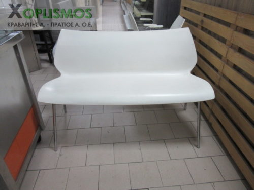 kanapes diplos aspros plastikos me inox skeleto 1 500x375 - Άσπρος καναπές διπλός